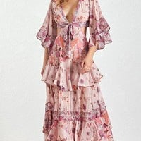 Tomorrow Never Comes Pink Purple Floral 3/4 Bell Sleeve V Neck Tie Cut Out Waist Ruffle Casual A Line Maxi Dress