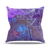 """Marianna Tankelevich """"Abstract With Wolf"""" Purple Illustration Outdoor Throw Pillow"""