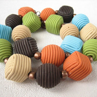 colorful multicolored bead bright colorful necklace polymer multicolored cubes and round bead blue brown green orange necklace clay  jewelry