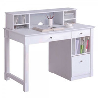 """Solid Wood Desk with Hutch (White) (40""""H x 48""""W x 24""""D)"""