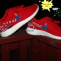 Glow in Dark Red American flag Roshes Cheap