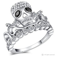 Rhodium-plated 925 Sterling Silver CZ Skull Crown Ring