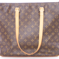 "LOUIS VUITTON ""CABAS MEZZO"" MONOGRAMED TOTE BROWN LEATHER HANDBAG"
