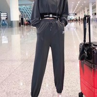 """Balenciaga"" Woman's Leisure Fashion  Letter  Personality Printing  Hodded Elastic Band Long  Sleeve Tops Trousers Two-Piece Set Casual Wear"
