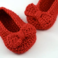 Crochet Ruby Slippers // Sparkly Red Ballet Shoes with Bows // 6 to 9 Months // Baby Girl Booties