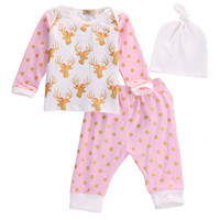 Newborn Kids Baby Girl Boy Clothes Set Baby Girls  Long Sleeve Deer Tops+Pants+Hat Outfits Set Autumn Spring Clothes