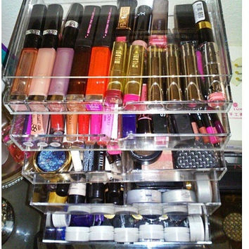 Makeup Organizer Acrylic Makeup Organizer Cosmetic Storage Case With 5 Drawers