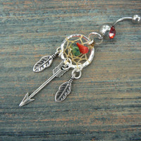 arrow dreamcatcher belly ring tribal feathers turquoise coral  in native american tribal boho belly dancer tribal fusion and hipster style