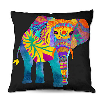 Whimsical Multi Color Aztec Elephant on Black Throw Pillow – 3 Sizes Available