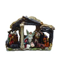 """18"""" Traditional Religious LED Christmas Nativity with Stable House Decoration"""