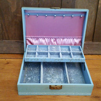 Vintage Light Blue Mint Green Mele Jewelry Box With Blue Purple Interior Great For Jewelry Storage and Display