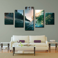 5 piece ocean wave  palms sun Wall Paintings Home Decorative Modern Art combination Paintings for home decor No frame