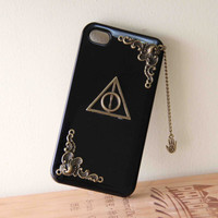 Totem Triangle Deathly Hallows Harry Potter style protective phone case for iPhone 5 4 4s G4/3 hard case hamsa hand dangle