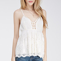 Floral Crochet-Embroidered Cami