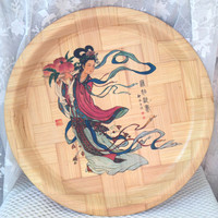 Vintage Bamboo Tray, Oriental Kimono Lady Design, Woven Bamboo, Chinese Decor, Made in Taiwan, 1960s, 70s, Lacquered Bamboo Wall Decor