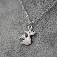 925 Sterling Silver Pendant Necklace lovely small dragon lady clavicle chain