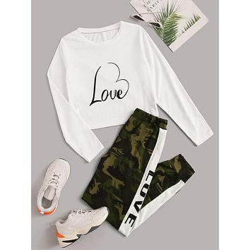 Letter Graphic Tee With Camo Print Sweatpants