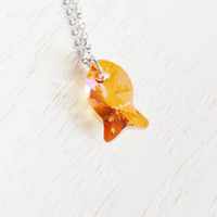 swarovski elements, fish necklace, copper fish jewelry, nautical, best friend gift, christmas, silver necklace, marine gift, crystal, ocean
