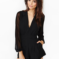 Black V-neck Long Sleeve Chiffon Romper with Mesh Accent