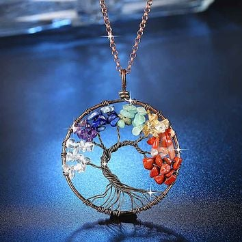 Magnificent Handmade Tree of Life Natural Stone Pendant Necklace