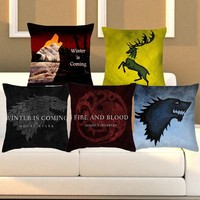 Cushion Cover Game Of Thrones Pillowcase Polyester Cotton Logo Chair Seat Sofa Bedroom 18x18inches Home Decorative Throw pillow