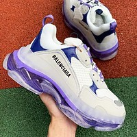 Balenciaga Shoes High Quality  Fashion Women Men Letters Contrast Crystal clear shoes Triple sole Shoes White+Purple