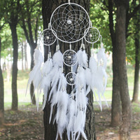 White Dreamcatcher Wind Chimes Indian Style pearl Feather Pendant Dream Catcher Gift