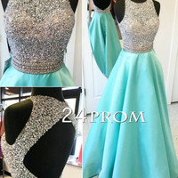 A-line Round Neck Sequin Backless Long Prom Dress, Evening Dress
