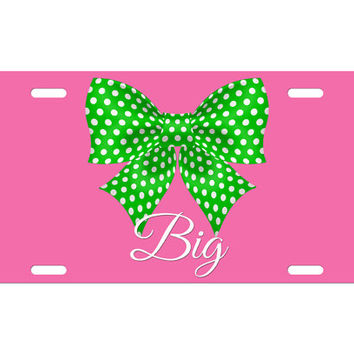 Custom Personalized License Plate Car Tag Big Little Sister Sorority Bow Polka Dot Greek Rush College Gift Aluminum Front Car Plate LP-1021