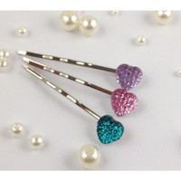 Lot of 3 Shiny Heart Bobby Pins Pink Teal & Purple