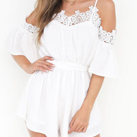 White Cold Shoulder Lace Trim Cami Romper Playsuit