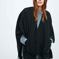 Ellen Tracy Brushed Pocket Ruana Scarf in Black - Urban Outfitters