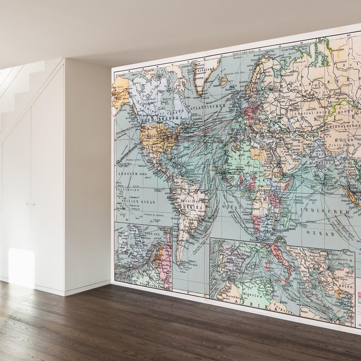 Vintage world map wall mural decal from wallsneedlove for Black and white world map wall mural