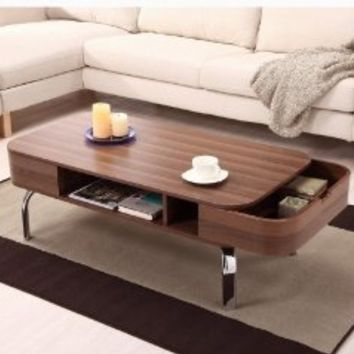 Amazon.com: Enitial Lab Luxer Coffee Table with Drawers, Walnut: Home & Kitchen