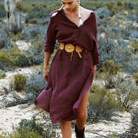 Meika Linen Maxi Tunic in Fig