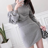 New Two-Suit Fashion Women Clothing Ladies Sexy Bat Sleeves Bodycon Bag Hip One-Piece Knitted Sweater Dress
