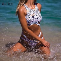 Europe two piece suit 2017 NEW Print Sexy Bikini Swimwear High Neck Womens Swimsuit Sling Halter Beach holiday Bathing Suit