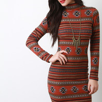 Fair Isle Knit Mock Neck Bodycon Dress