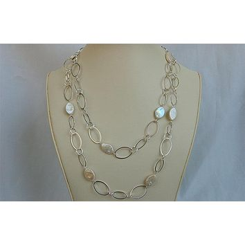 White Oval Coin Pearl and Silver Chain Necklace