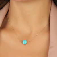 """Turquoise necklace, gold necklace, turquoise and gold, bridesmaid jewelry, bridal pendant, best friend necklace, 14k gold necklace, """"Antiope"""