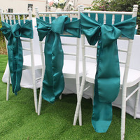 Satin Chair Sashes Bands Bow Ties Butterfly Cover for Wedding Decoration 15cm x 275cm Home Textile Many Color Optional