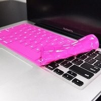 """TopCase® Solid HOT PINK Keyboard Silicone Cover Skin for Macbook 13"""" Unibody / Macbook Pro 13"""" 15"""" 17"""" with or without Retina Display + TOPCASE® Logo Mouse Pad"""
