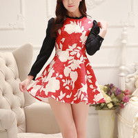 Red Floral Two Piece Dress