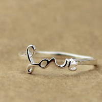 925 Silver Love Style Ring