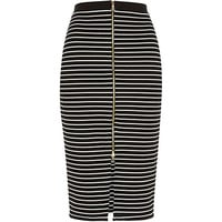 River Island Womens Black stripe zip front pencil skirt