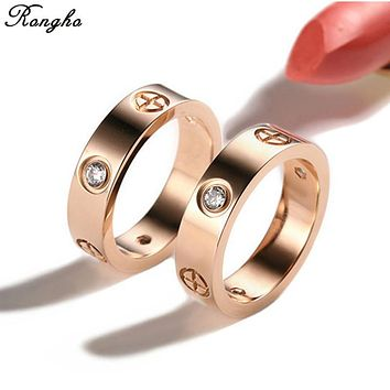 New brand Couple Rings Cross Screw rings For Women Titanium Steel Gold ring Fashion Men Jewelry Love Crystal Rings Bijoux