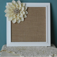 Burlap Covered Framed Cork Board with Large Ivory Felt Flower-Pin Board ,Corkboard,Burlap Cork Board,Wall Decor,Kitchen Decor,Office Decor