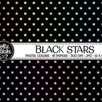 50% off SALE!! 16 Black Stars Digital Paper • Rainbow Digital Paper • Commercial Use • Instant Download • #STARS-103-1-BP