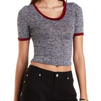 Marled Knit Ringer Tee by Charlotte Russe - Black Combo
