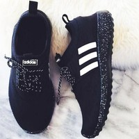 Adidas Fashion Breathable Outdoor Men Running Sport Casual Sneakers Shoes Black